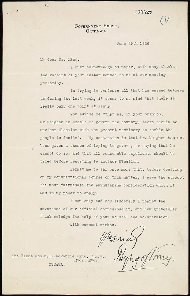 Letter of resignation from Prime Minister King to Governor General ...