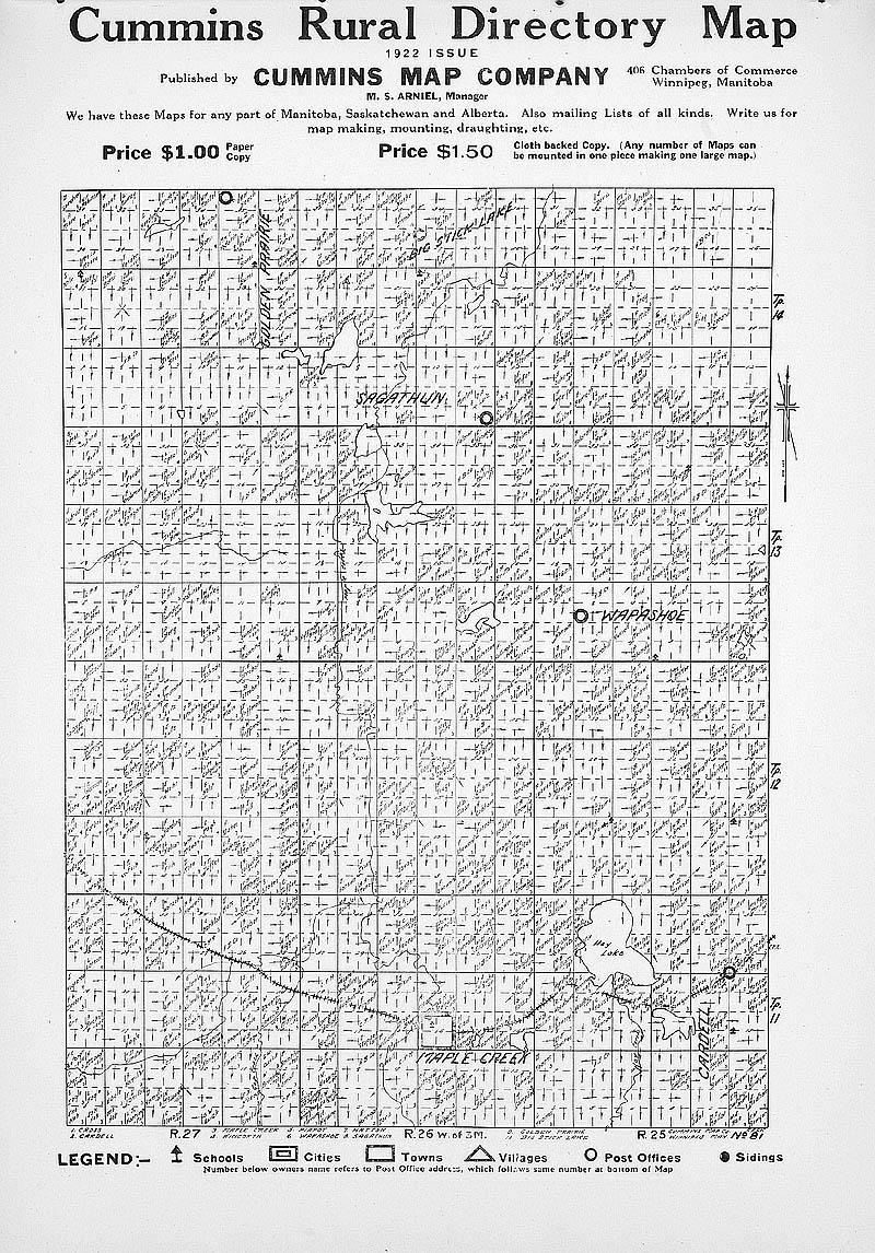 ARCHIVED - Cummins map directory for Saskatchewan, sheet no  81