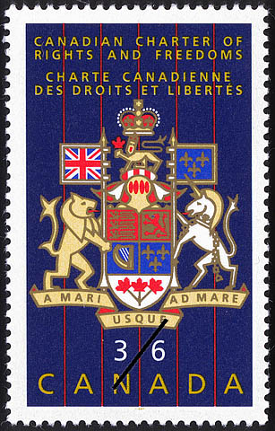 Postage stamp depicting Canada's Coat of Arms, commemorating the CANADIAN CHARTER OF RIGHTS AND FREEDOMS, 1987
