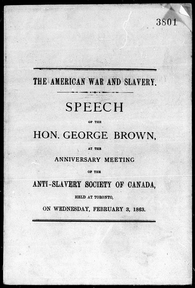 Speech by George Brown, February 3, 1863