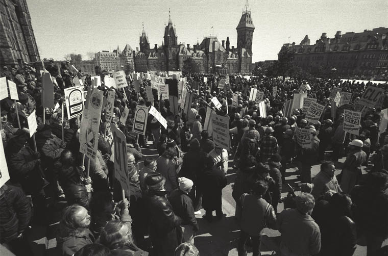 Photograph of protesters gathered on Parliament Hill, Ottawa, circa 1976