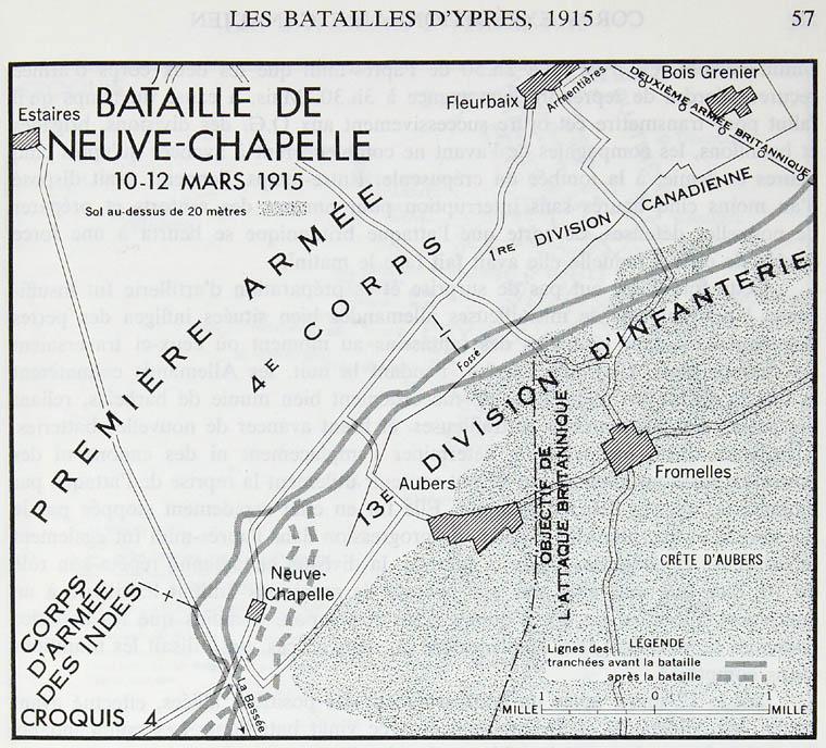 Carte de la bataille de Neuve-Chapelle