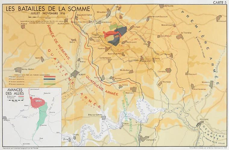 Carte : les batailles de la Somme