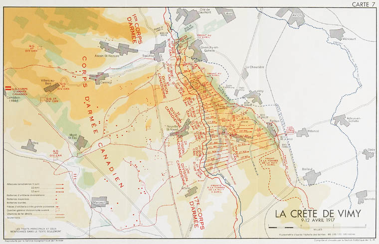 Carte : La crête de Vimy
