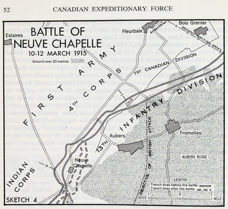 Map of the battle of Neuve-Chapelle