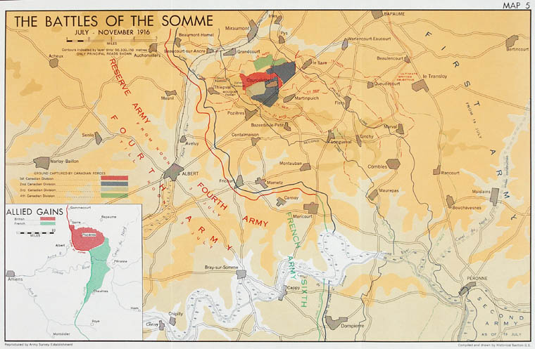 Map of the Battles of the Somme