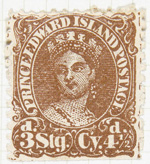 Sepia-coloured postage stamp with perforated edges. In the centre is the head of a woman wearing a crown and drop earrings, with white text encircling her that reads PRINCE EDWARD ISLAND POSTAGE