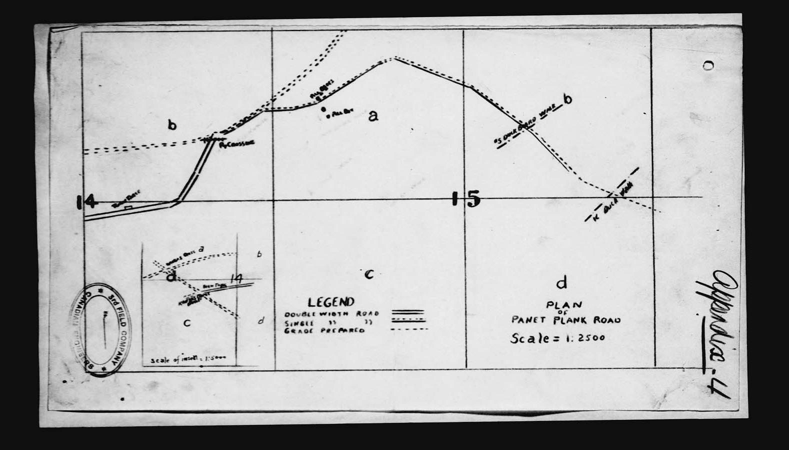 pencil drawn map of the trench, plank road, and duck boards laid for Passchendaele