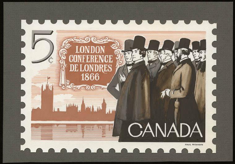 Dessin pour un timbre-poste de 1965 commémorant la Conférence de Londres de 1866, représentant les Pères de la Confédération qui participent à la rédaction de l'ACTE DE L'AMÉRIQUE DU NORD BRITANNIQUE DE 1867