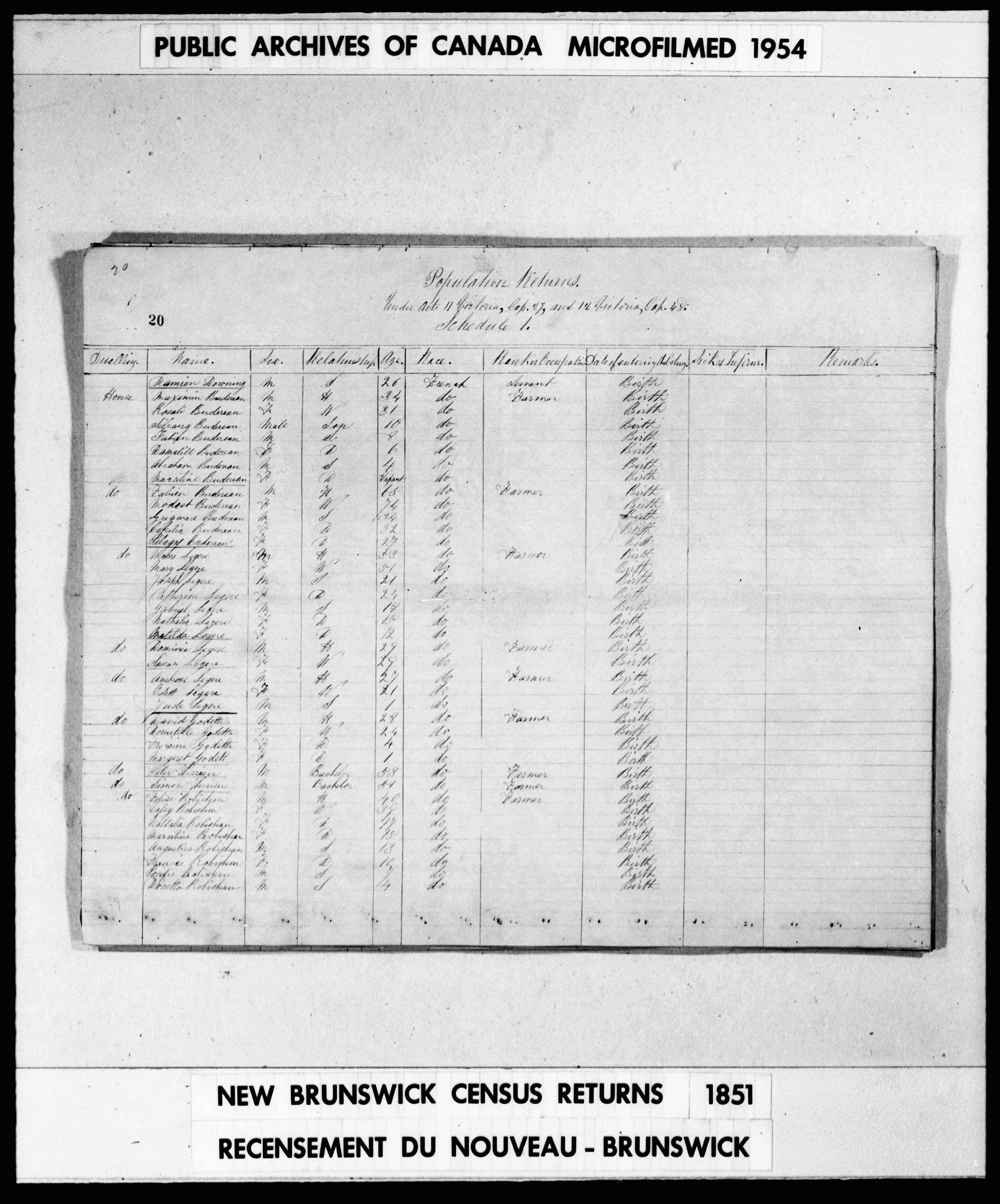 Digitized page of Census of 1851 (Canada East, Canada West, New Brunswick and Nova Scotia), Page number 20, for Ambrose Legere
