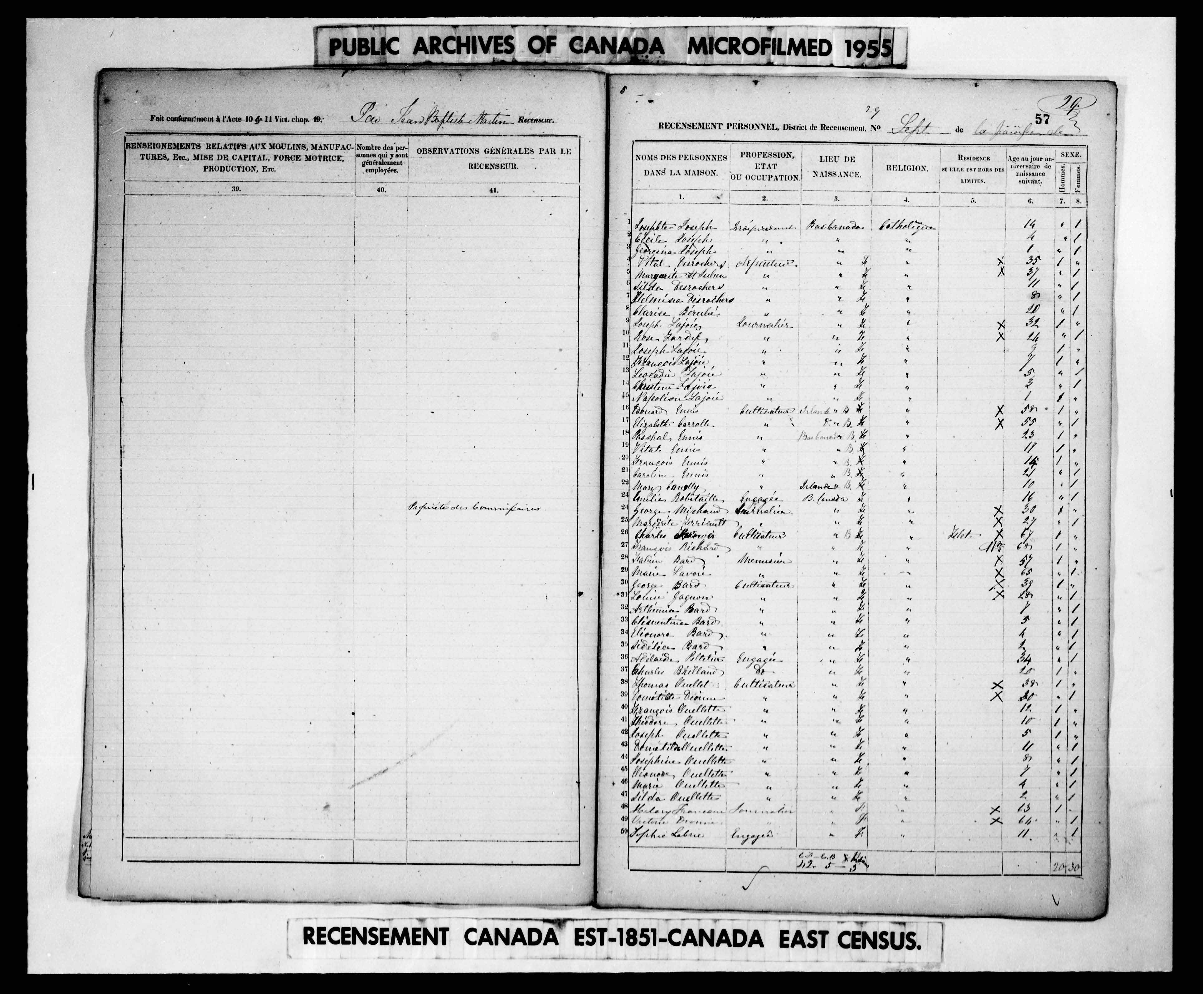 Digitized page of Census of 1851 (Canada East, Canada West, New Brunswick and Nova Scotia), Page number 57, for Georgina Joseph