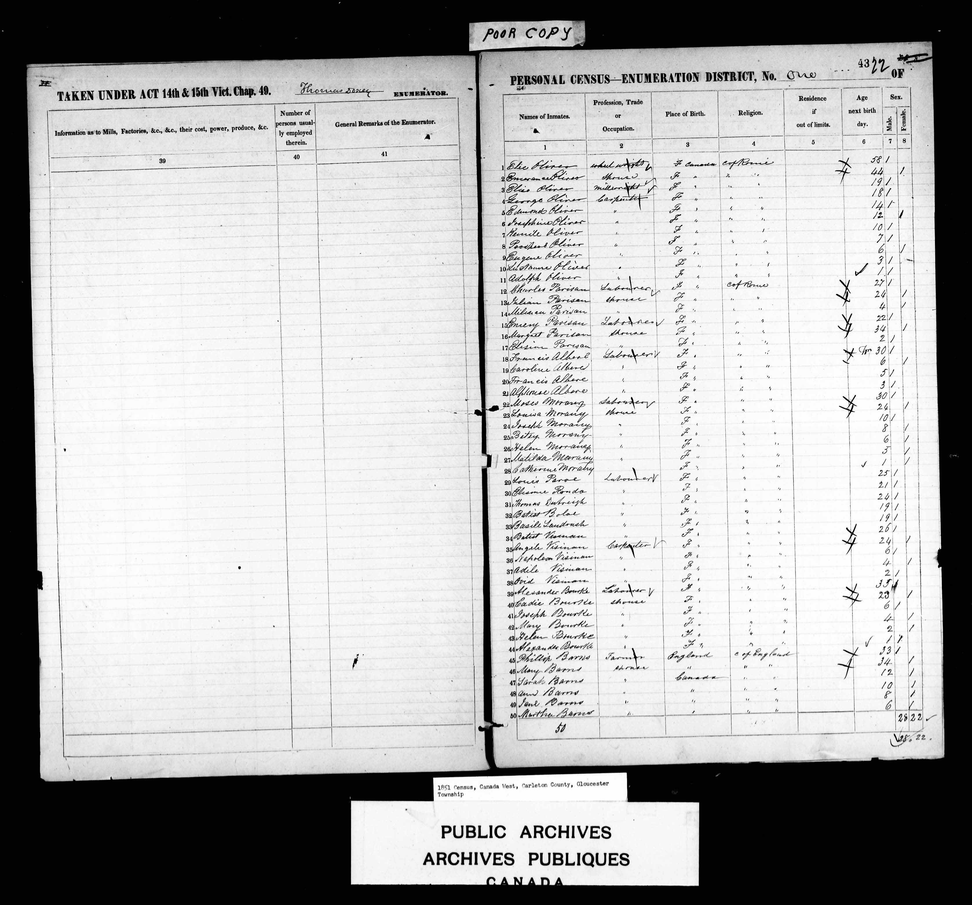 Digitized page of Census of 1851 (Canada East, Canada West, New Brunswick and Nova Scotia), Page number 43, for Phillip Barns
