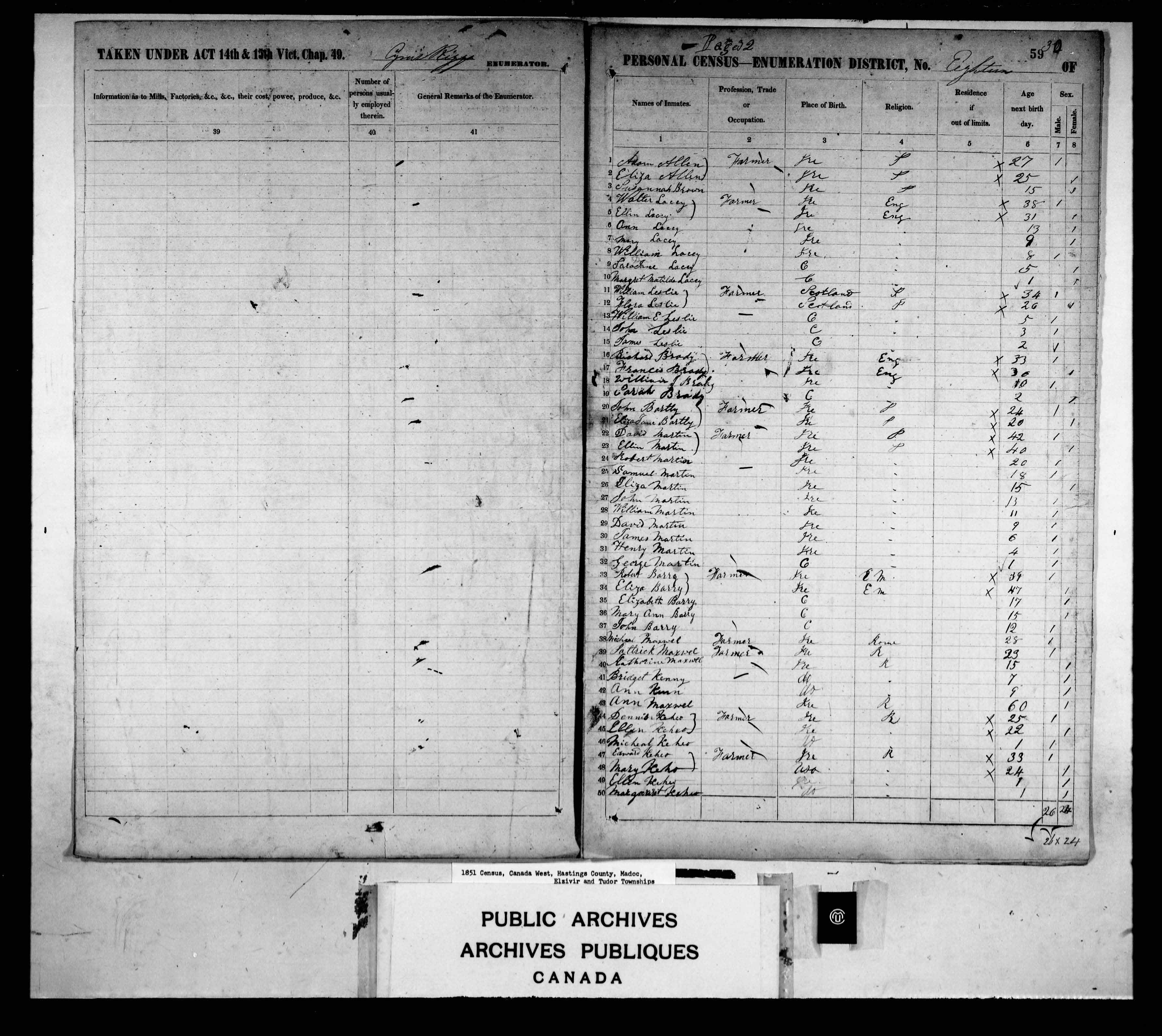 Digitized page of Census of 1851 (Canada East, Canada West, New Brunswick and Nova Scotia), Page number 59, for Henry Martin