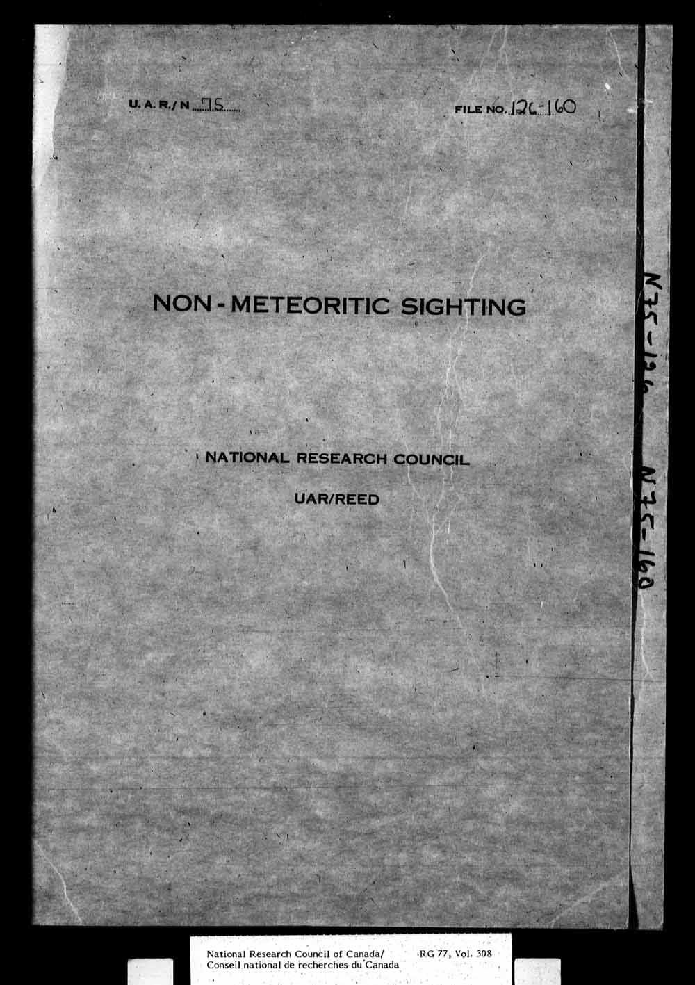 Herzberg Institute of Astrophysics - Reports on non-meteoric sightings, unidentified flying objects, UFO's