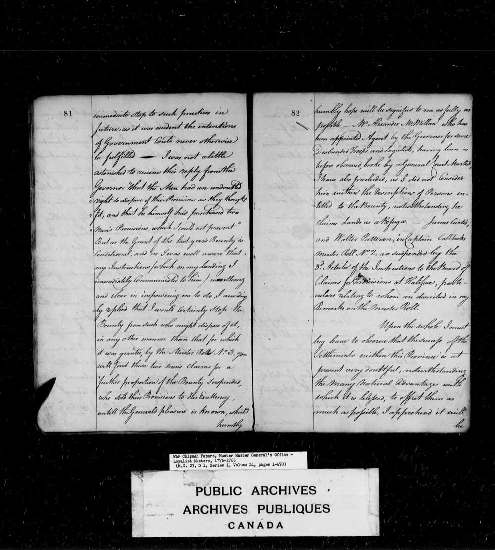 Muster Roll of the following Disbanded Officers, Discharged and Disbanded Soldiers and their respective Families of His Majesty's late first Battalion of King's Rangers, that are now settled and preparing to settle in the Island of Saint John, taken 12th
