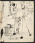 Page of Eleanora's diary, containing drawings and doodles of people and ships, 1835