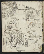 Page of Eleanora's diary, containing drawings and doodles of people and animals, 1836