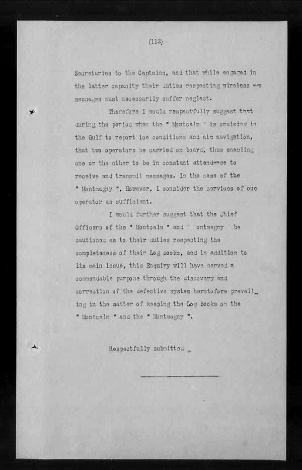 Wrecks, Casualties and Salvage - Formal Investigations - C.G.S. MONTCALM Complaint vs C.G.S. MONTGOMERY [MONTMAGNY]