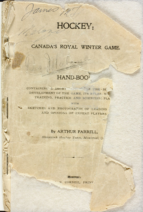 Title page (page 7) of HOCKEY: CANADA'S ROYAL WINTER GAME