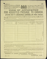 Assisted Passage form used by the Allan Line, 1883
