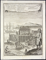 18th-century engraving depicting equipment and methods used at coastal fishing station in Newfoundland