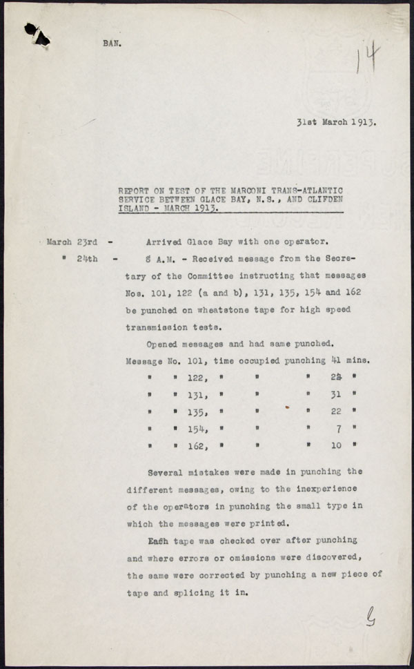 Report on the test of the Marconi trans-Atlantic service between Glace Bay, Nova Scotia, Canada, and Clifden, Ireland (March 1913)