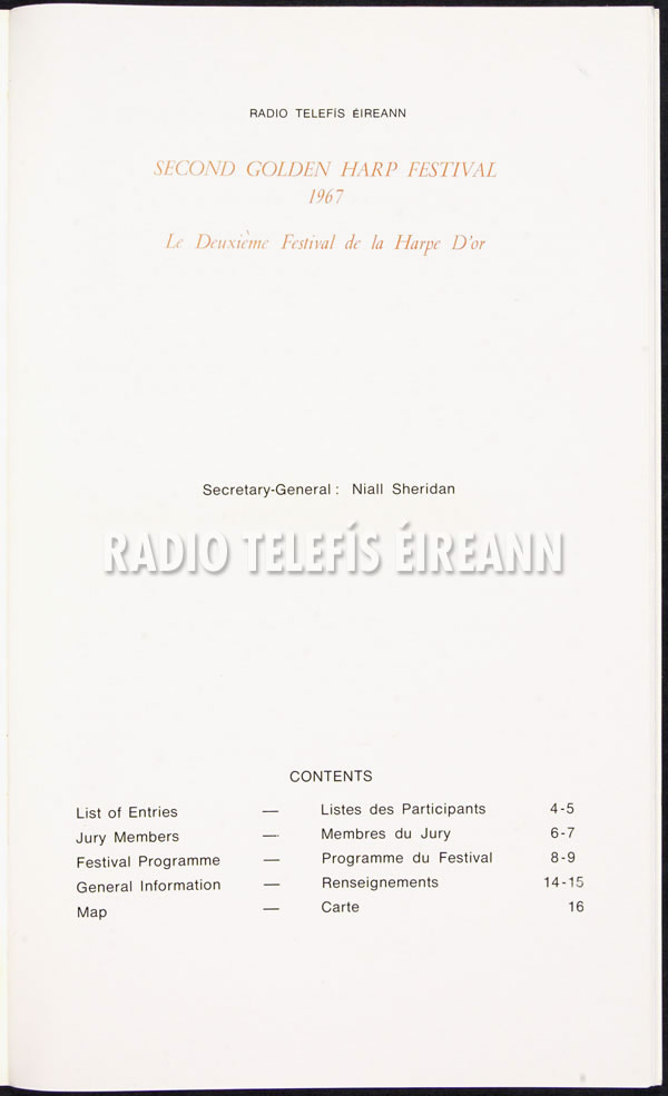 The Second Golden Harp Festival = Le Deuxieme Festival de la Harpe D'Or , Dublin, October 1st to 6th, 1967
