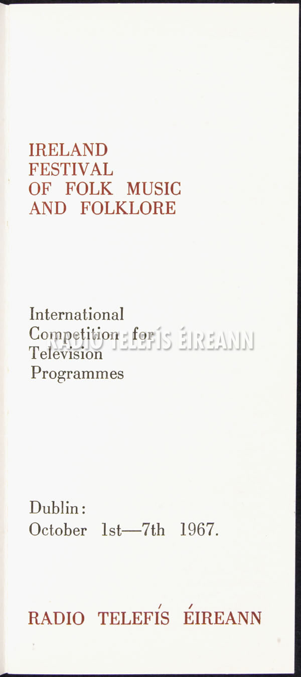 Program of the Ireland Festival of Folk Music and Folklore (October 1-7, 1967)
