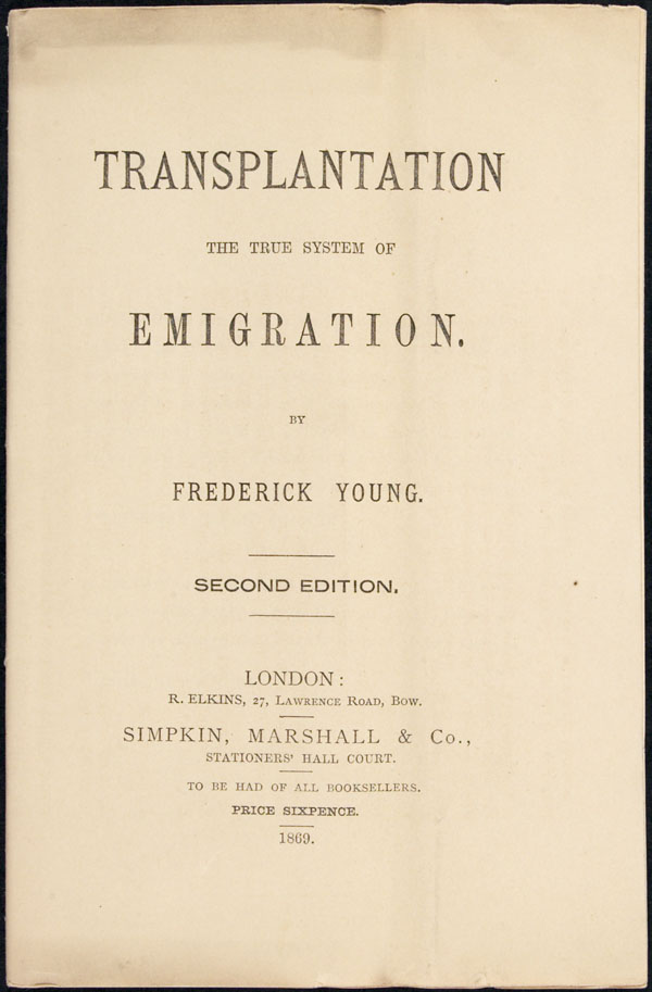 Emigration pamphlet by Frederick Young, distributed to agents in Canada, Ireland, England and Australia (1869)