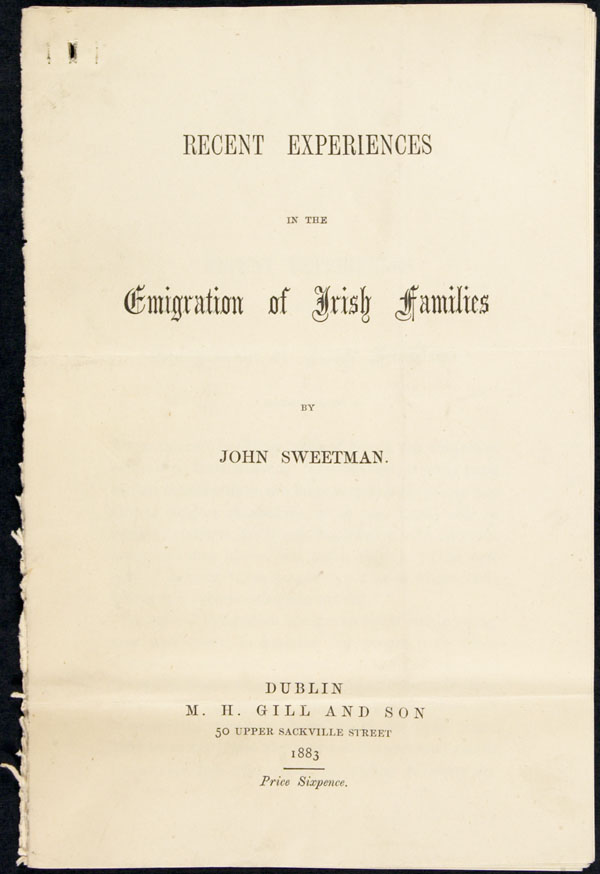 � Recent Experiences in the Emigration of Irish Families �, de John Sweetman (1883)