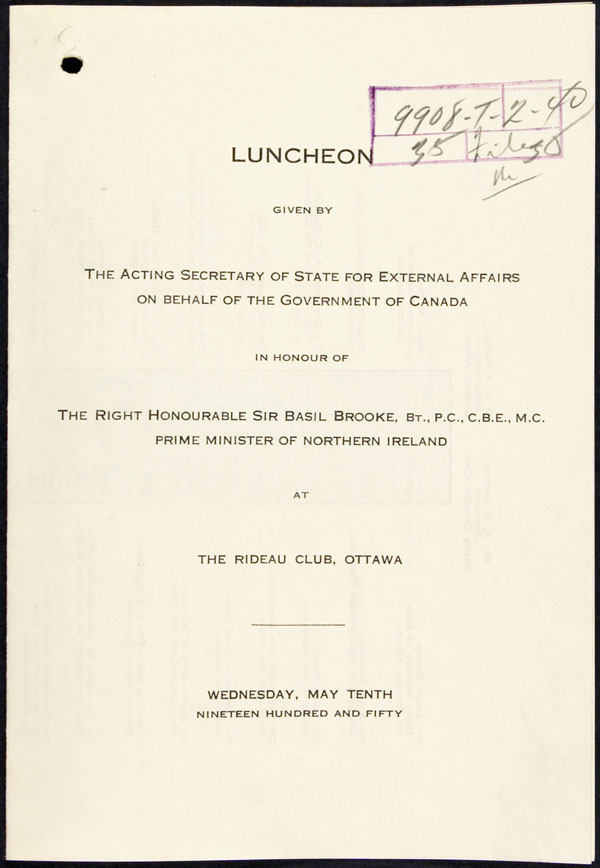 Seating plan of a luncheon held at the Rideau Club, Ottawa, Canada, in honour of Sir Basil Brooke, Prime Minister of Northern Ireland (May 10, 1950)