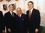 Photograph of  Right Honourable Don McMillan, Premier of Prince Edward Island, Dr. Gustave Gingras and the Right Honourable Brian Mulroney, Prime Minister of Canada, December 11, 1987