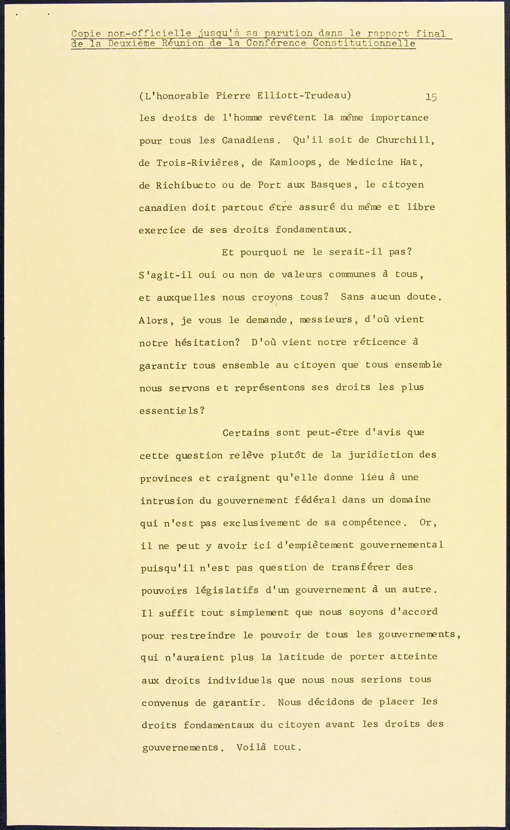 Page from a speech on Canadian rights and freedoms, delivered by Prime Minister Pierre Elliott Trudeau at the Federal-Provincial Conference on the Constitution, February 10, 1969