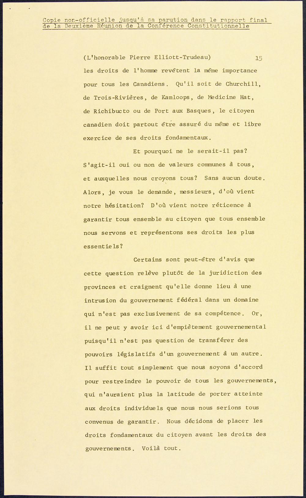 Page tirée d'un discours du premier ministre Pierre Elliott Trudeau, sur les droits et libertés au Canada, lors de la Conférence fédérale-provinciale au sujet de la Constitution, 10 février 1969