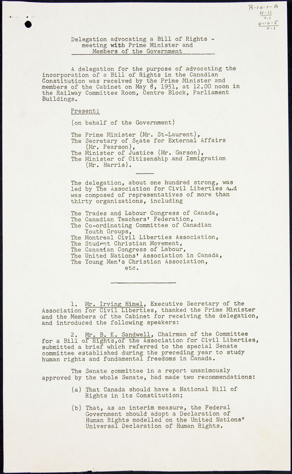 Page one of minutes recorded by Pierre Elliott Trudeau when a  delegation met with Prime Minister Louis St. Laurent to advocate a Bill of Rights, May 10, 1951