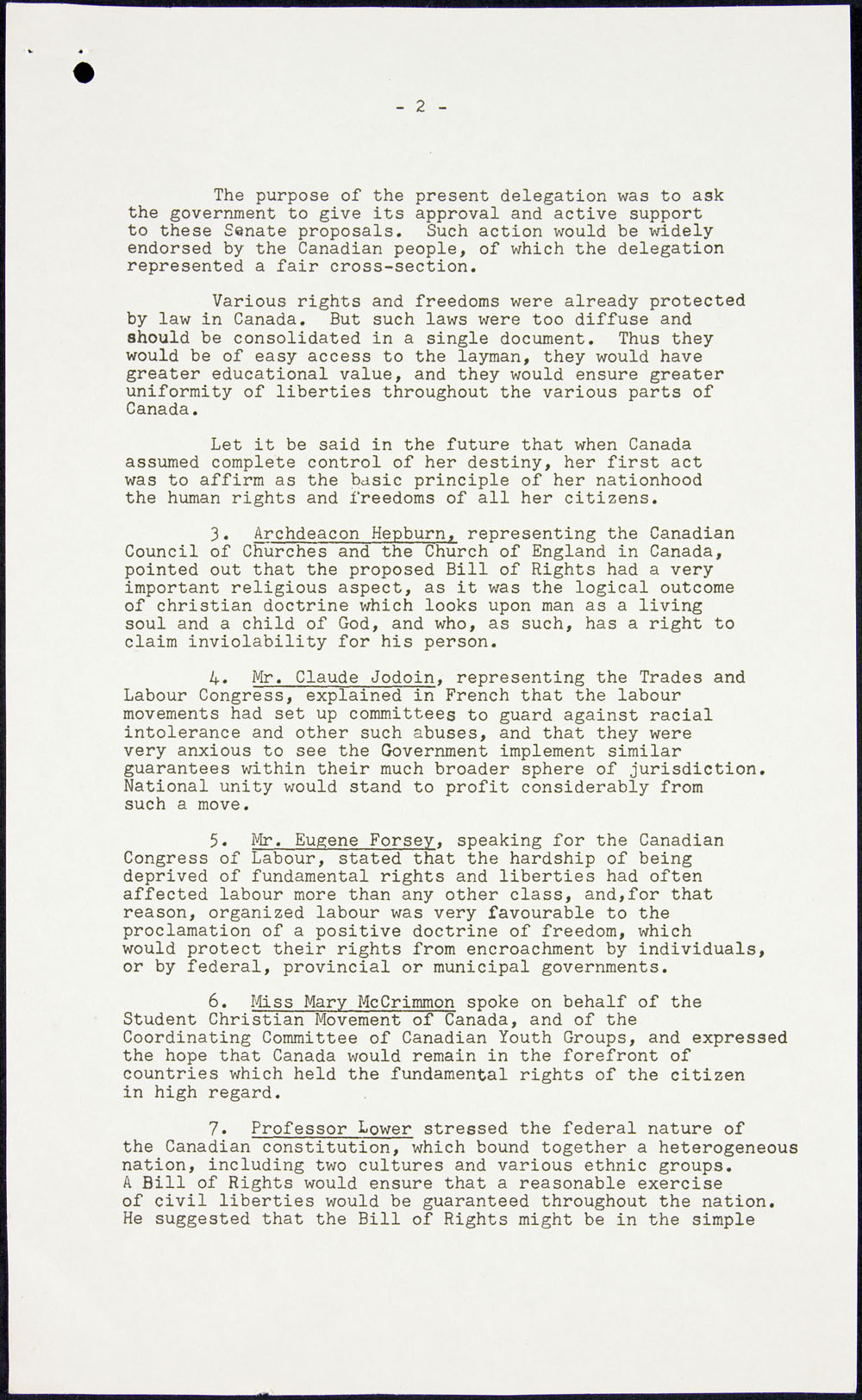 Page two of minutes recorded by Pierre Elliott Trudeau when a  delegation met with Prime Minister Louis St. Laurent to advocate a Bill of Rights, May 10, 1951