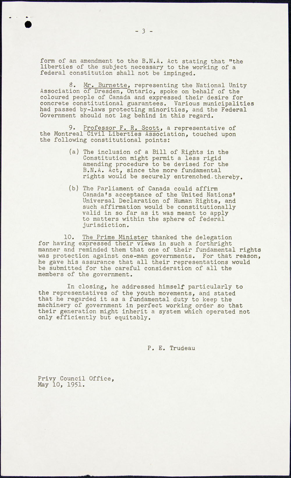 Page three of minutes recorded by Pierre Elliott Trudeau when a  delegation met with Prime Minister Louis St. Laurent to advocate a Bill of Rights, May 10, 1951