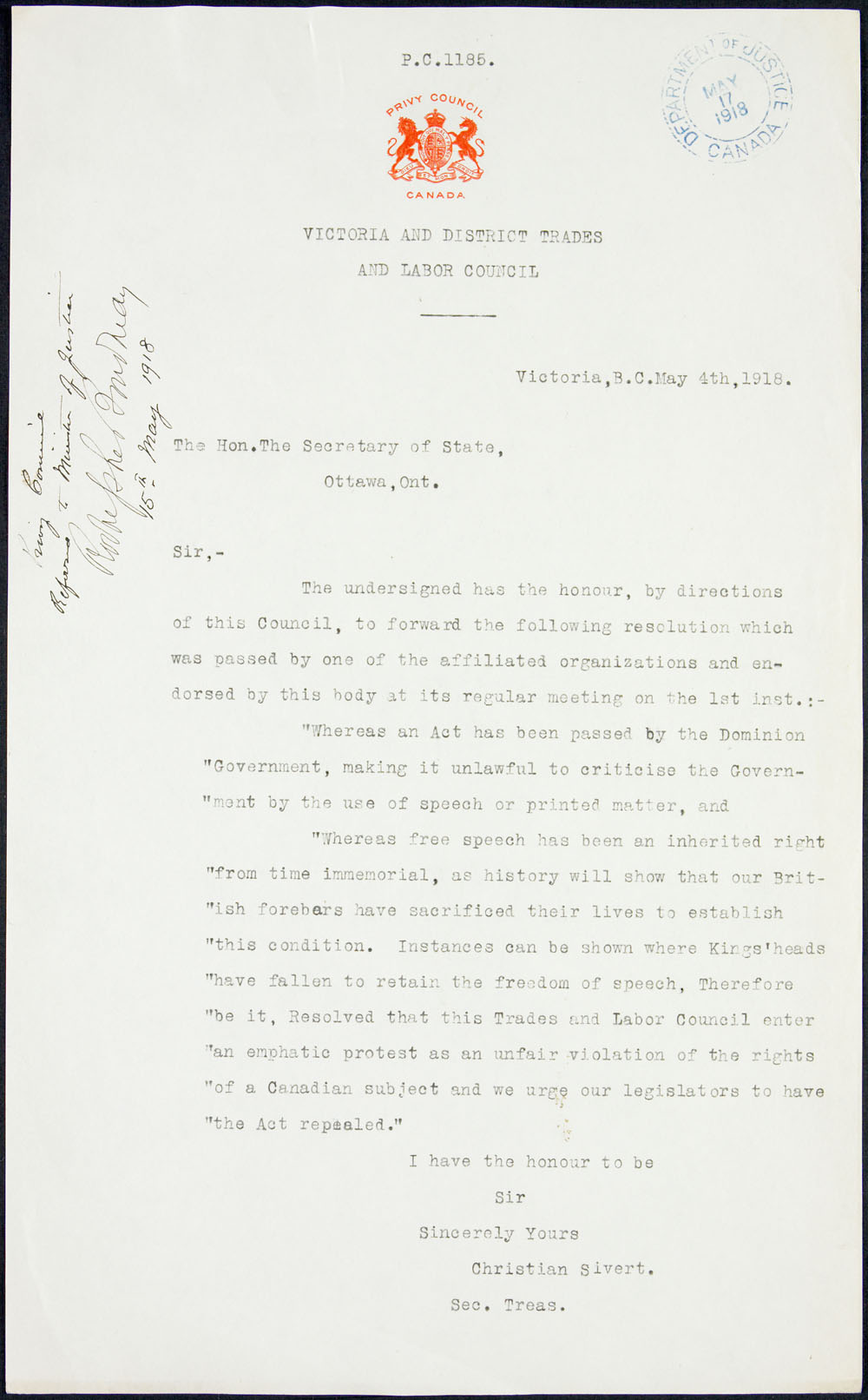 Privy Council document addressed to the Secretary of State, quoting a resolution of the Victoria and District Trades and Labour Council in support of freedom of speech in Canada, May 4, 1918