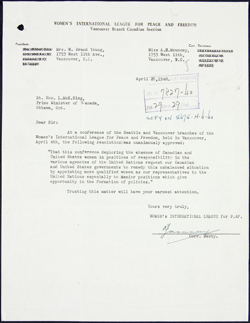 Letter to Prime Minister William Lyon Mackenzie King from the Women's International League for Peace and Freedom calling for the appointment of women to positions of influence at the United Nations, April 28, 1948