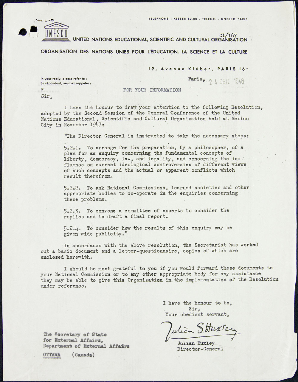 Letter describing a resolution by the United Nations Educational, Scientific and Cultural Organization, calling for an enquiry concerning the fundamental concepts of liberty, democracy, law, and legality, December 24, 1948
