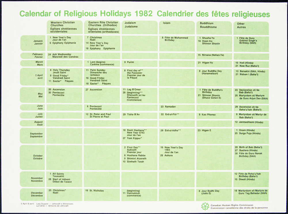 Calendrier des fêtes religieuses distribué par la Commission canadienne des droits de la personne, 1982