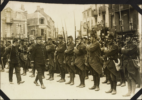 Photograph of French soldiers on�parade, Le Tr�port, France, ca. 1916-1917
