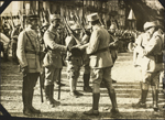Photograph of  decorations being given to French soldiers, Le Trport, France, ca. 1916-1917