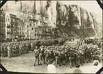Photograph of French soldiers on parade on the beach below the cliffs, Le Tr�port, France, ca. 1916-1917