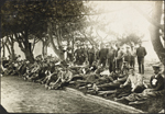Photograph of a group of patients awaiting evacuation to England, No. 2 Canadian General Hospital, Le Tr�port, France, 1917