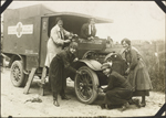 Unidentified drivers servicing a St. John Ambulance Association ambulance, No. 2 Canadian General Hospital, Le Tréport, France. 1917
