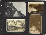 Page 23 from Alice Isaacson's photo album with four commercial photographs of Devonshire, England, unknown dates