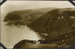 Photograph of a hilly coastline, Lynton, England, unknown date