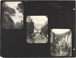Page 26 from Alice Isaacson's photo album with three commercial photographs from Clovelly, Devon, England, unknown dates