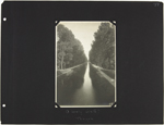 Page 77 from Alice Isaacson's photo album with a photograph of the canal, Troyes, France, unknown date